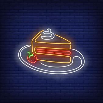 Enseigne de tranche de gâteau au néon.