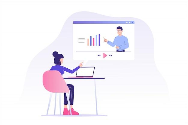 Enseignement ou cours à distance en ligne
