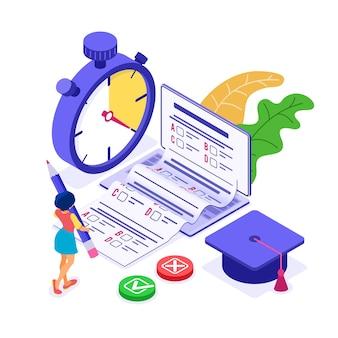 Enseignement en ligne à domicile ou test d'examen à distance avec une femme isométrique