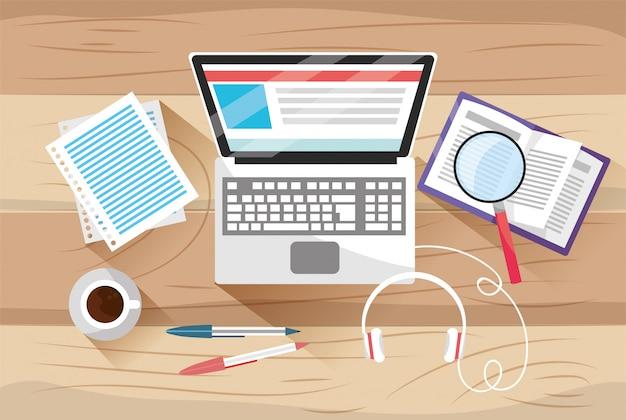 Enseignement en ligne avec technologie informatique et documents