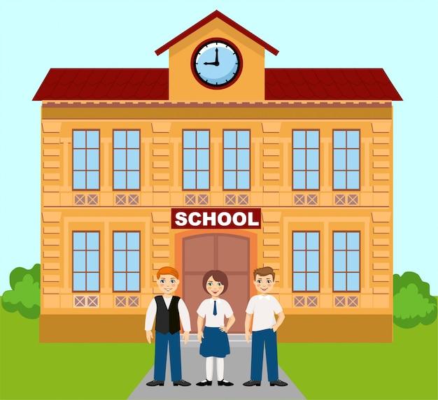 Enseignement primaire avec bâtiment et écoliers