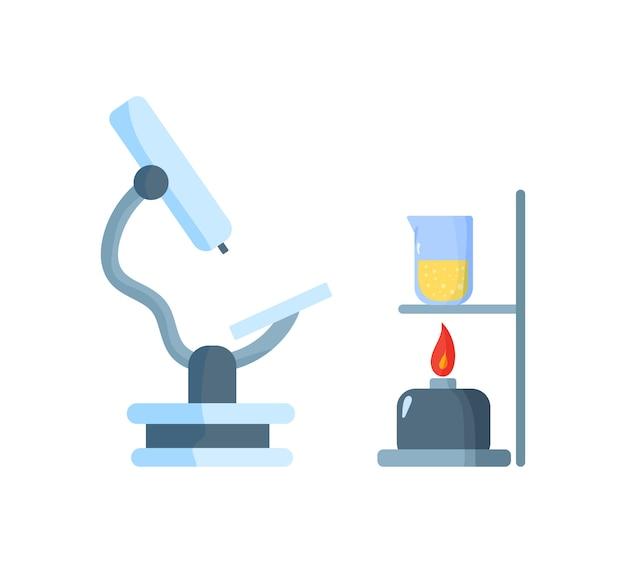 Enseignement des sciences de la biologie virus d'étude, molécule, atome, adn. fiole, microscope, loupe, télescope. laboratoire de chimie biologie des sciences et technologies. illustration. .