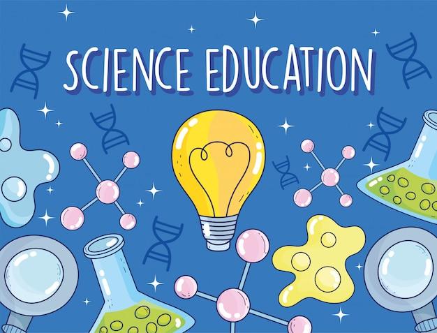 Enseignement scientifique tube à essai chimie bactéries atome loupe laboratoire de recherche
