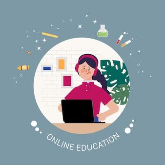 Enseignement scolaire en ligne avec élève à la maison