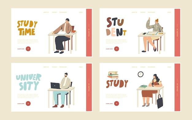Enseignement supérieur, les gens acquièrent un ensemble de modèles de page de destination. les étudiants s'assoient à des bureaux visitent la conférence à l'université. personnages qui apprennent, communiquent, s'ennuient lors d'un séminaire. illustration vectorielle linéaire