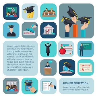 Enseignement supérieur avec symboles d'examen et d'apprentissage isolés