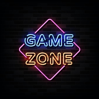 Enseignes au néon game zone. modèle de conception de style néon