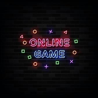Enseignes au néon de jeu en ligne.