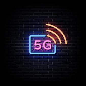 Enseignes Au Néon Avec Logo 5g Technology Vecteur Premium