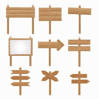 Enseignes en bois, ensemble de signe de flèche en bois. planche directionnelle en forme de flèche, panneau d'affichage