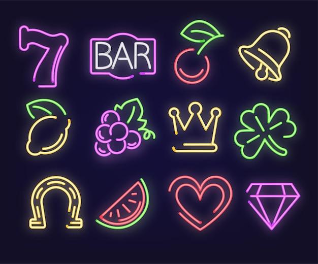 Enseignes lumineuses au néon, isolées sept 7, enseigne de bar et fruits