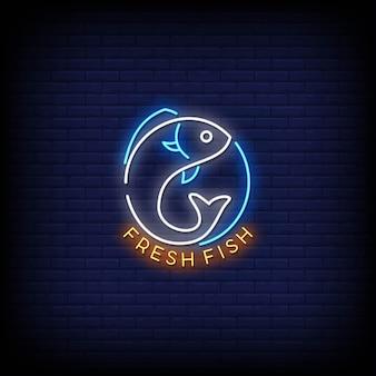 Enseignes néon logo poisson frais
