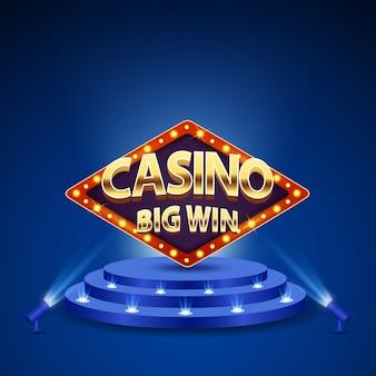 Enseignes rétro casino grande victoire avec des lettres de l'alphabet or sur le podium.