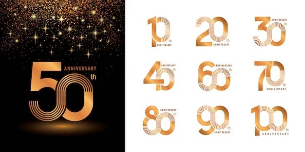 Ensemble de 10 à 100 ans de conception de logotype d'anniversaire, les années célèbrent le logo d'anniversaire