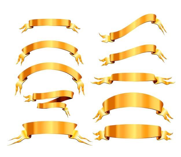 Ensemble de 10 rubans élégants dorés brillants sur blanc