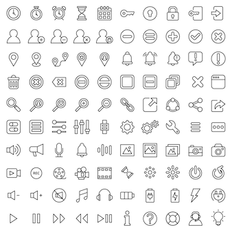 Ensemble de 100 actifs d'icônes ui-ux de base