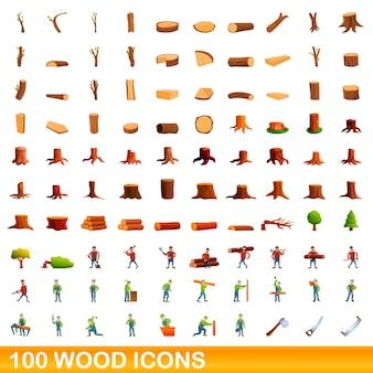 Ensemble de 100 icônes en bois. bande dessinée illustration de 100 icônes de bois mis isolé