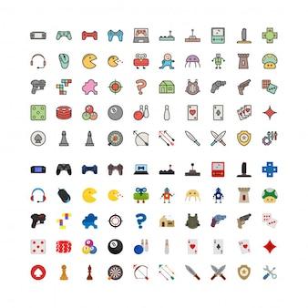 Ensemble de 100 icônes de jeu remplies et plates