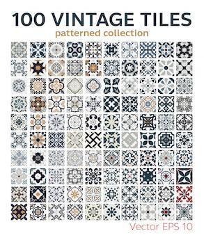 Ensemble de 100 motifs de carreaux vintage design sans couture antique