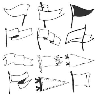 Ensemble de 12 fanions. étiquettes monochromes rétro. style de wanderlust dessiné à la main.