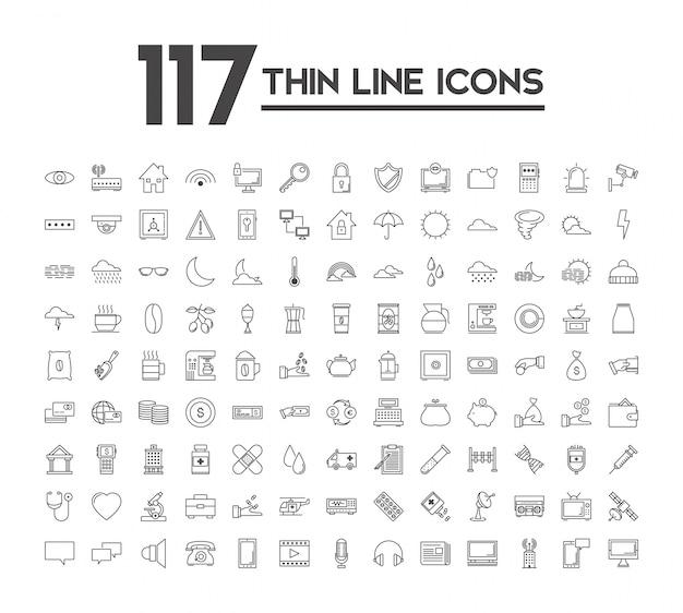 Ensemble de 120 icônes avec des thèmes différents