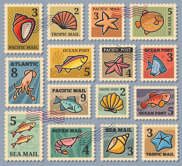 Ensemble de 15 timbres-poste avec des images d'habitants marins. timbres dans un style dessin animé avec un contour audacieux. couleurs dans des tons tendance de bleu, marron, orange. fabrication de timbres, cartes postales, affiches