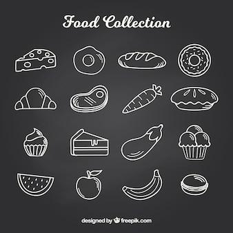Ensemble de 16 éléments de nourriture dans le style de tableau