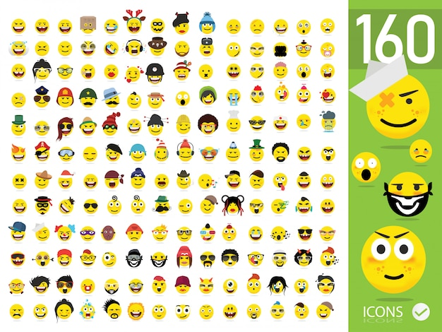 Ensemble de 160 emoji