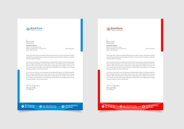 Ensemble de 2 couleurs de conception de modèle de papier à en-tête d'entreprise
