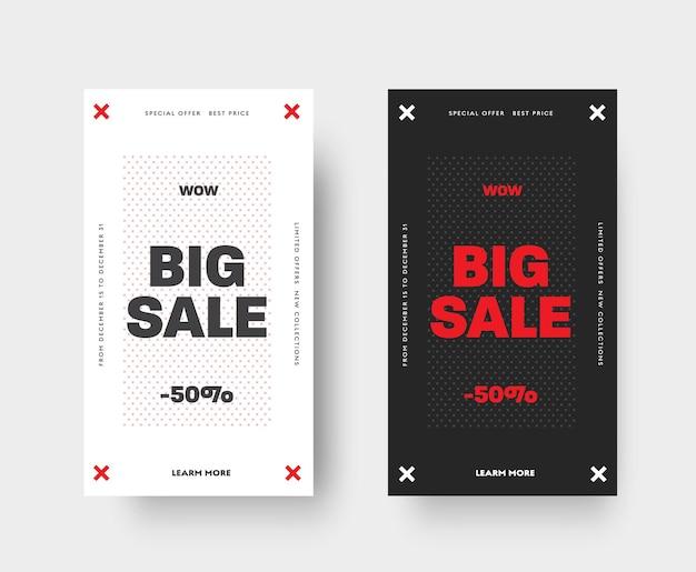 Ensemble de 2 motifs vectoriels blancs et noirs et éléments rouges pour les applications mobiles et les médias sociaux. concevez une bannière avec une croix et une remise de 50% sur une grande vente, des offres spéciales.