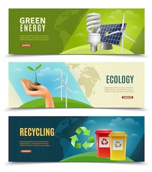 Ensemble de 3 bannières horizontales écologiques
