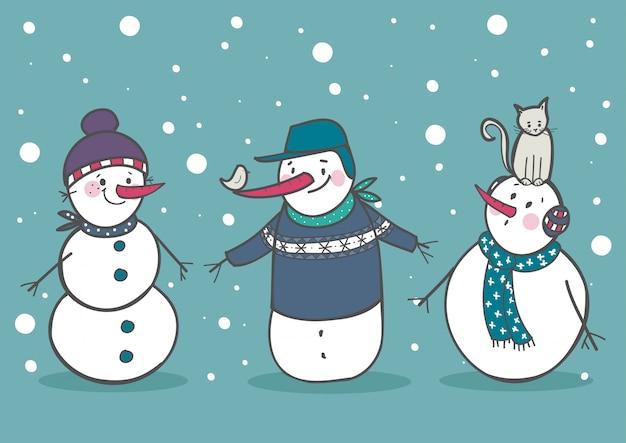 Ensemble de 3 bonhommes de neige mignons