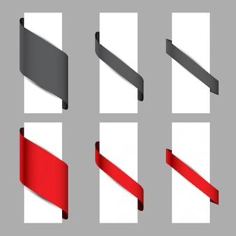 Ensemble de 3 styles de rubans en papier enroulé autour du papier