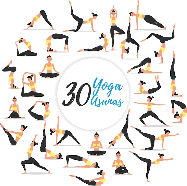 Ensemble de 30 asanas de yoga isolé