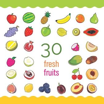 Ensemble de 30 fruits frais