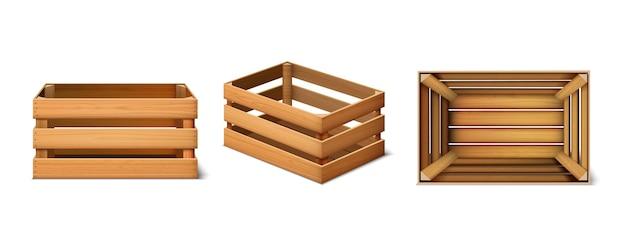 Ensemble 3d de boîtes en bois de fret