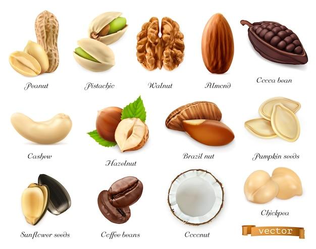 Ensemble 3d de noix, graines et haricots