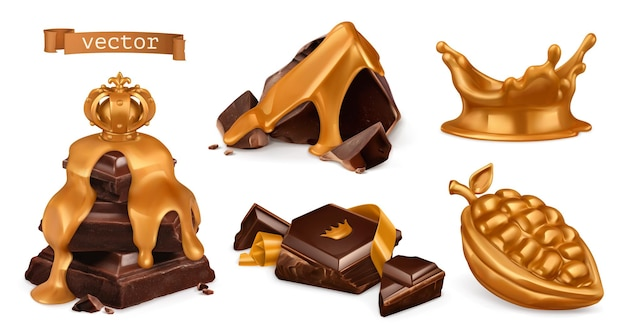 Ensemble 3d or et chocolat