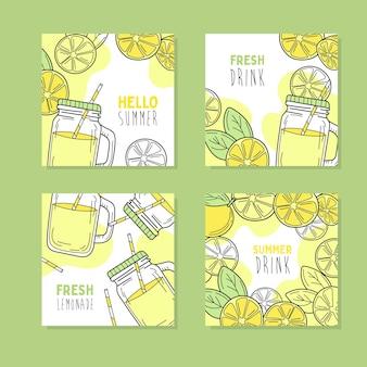 Ensemble de 4 cartes dessinées à la main. citrons jaunes et limonade en bocal en verre.