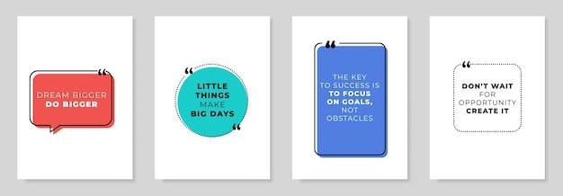 Ensemble de 4 citations inspirantes de motivation. illustration vectorielle. pour flyers, bannières, affiches, etc.