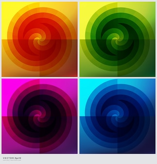 Ensemble de 4 fonds circulaires. milieux géométriques colorés.