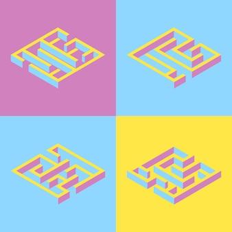 Ensemble de 4 labyrinthe carré abstrait.