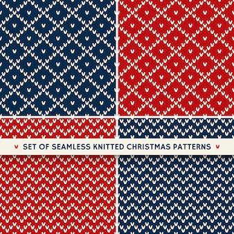 Ensemble De 4 Modèles De Tricot Sans Couture De Vacances D'hiver. Ornements De Noël Et Du Nouvel An Vecteur Premium