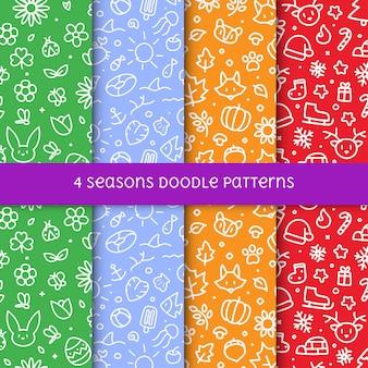 Ensemble de 4 saisons doodle seamless pattern