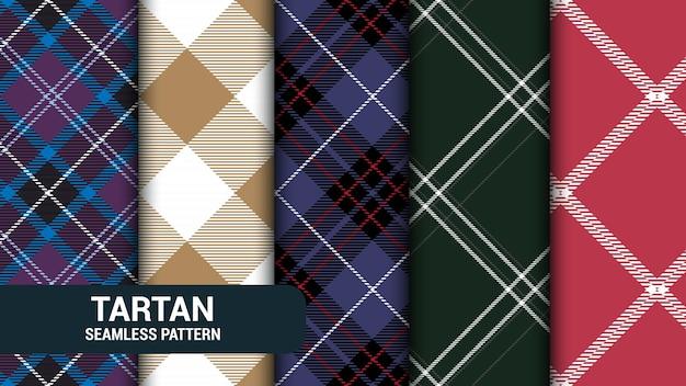 Ensemble de 5 illustration de texture transparente tartan à carreaux classique