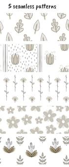 Ensemble de 5 modèles de vecteur avec des fleurs et des plantes.