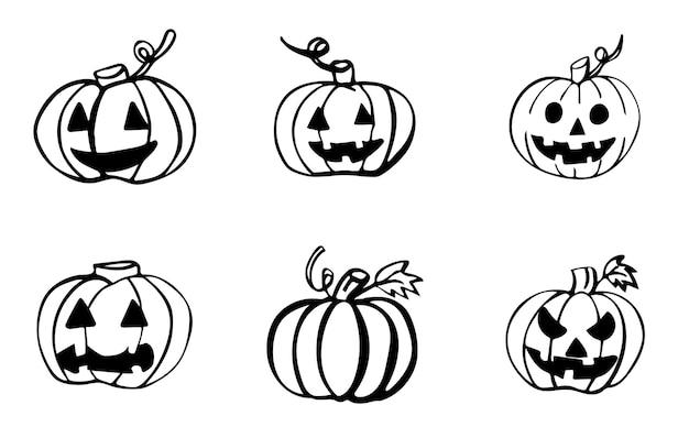 Ensemble de 6 éléments de doodle dessinés à la main citrouille d'halloween