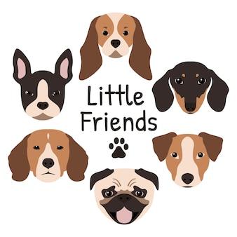 Ensemble de 6 icônes de chien.