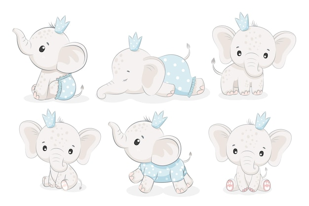 Ensemble de 6 mignons garçons éléphants. illustration vectorielle d'un cartoo
