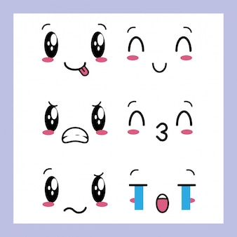 Ensemble De 6 Motifs D'expressions Kawaii Vecteur gratuit